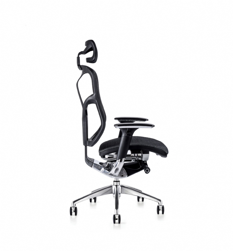 F94 102 Series Ergonomic Chair By Hood Seating In Black Mesh With Knee Tilt Mechanism And 3D Arms